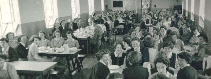 The old girls' dining hall in 1953