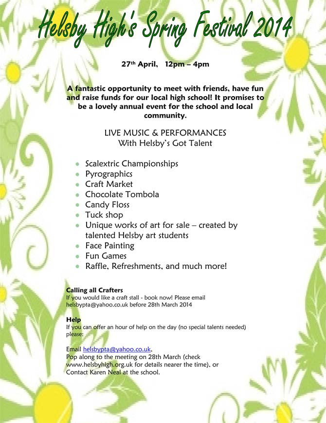 Helsby High Spring Festival Poster Helsby High School