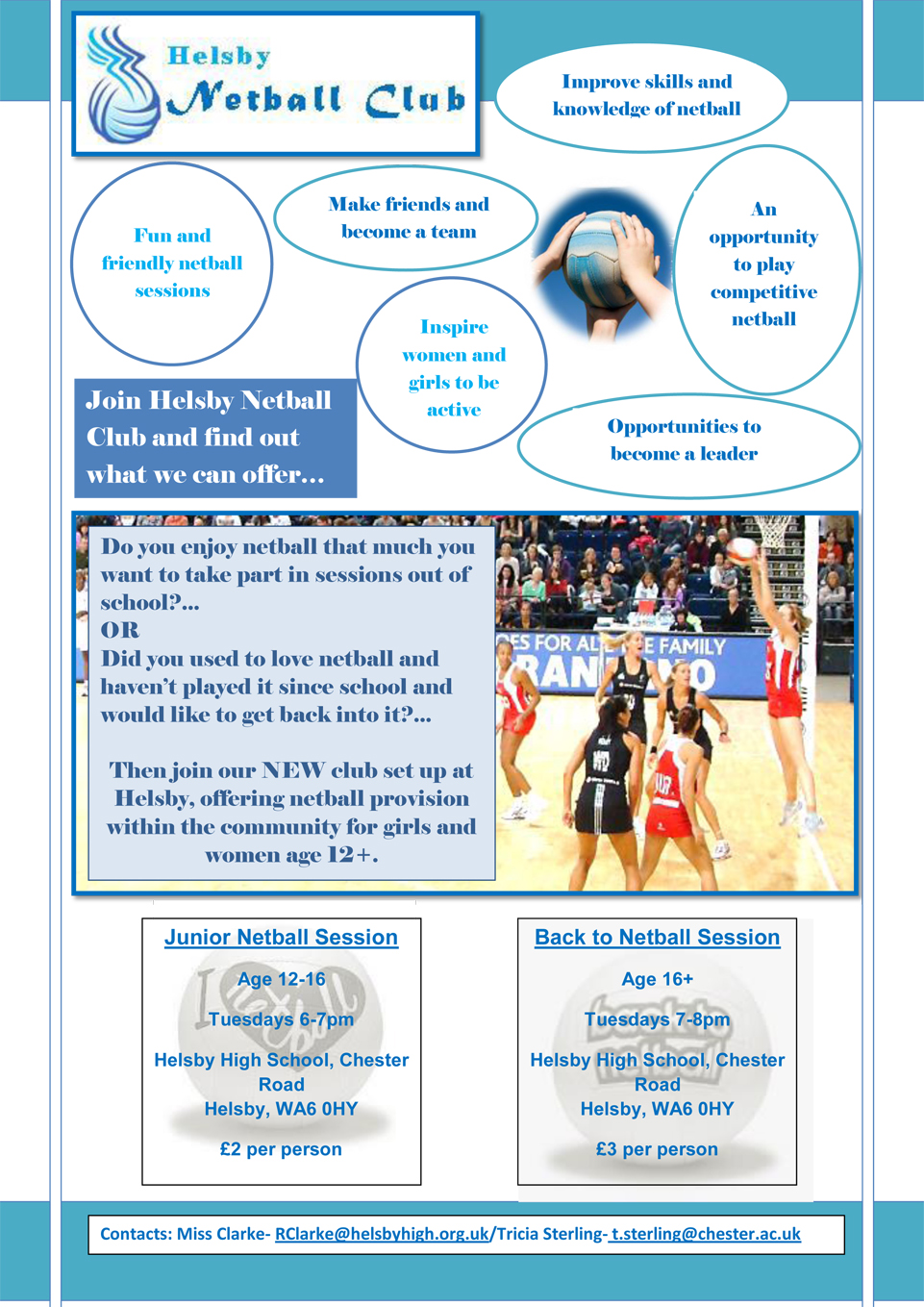 Helsby Netball Club Poster 2015